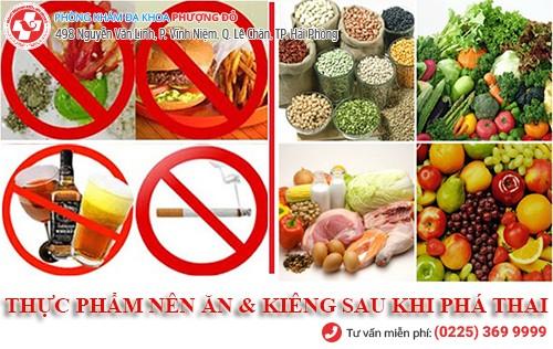 thực phẩm nên và không nên ăn sau khi phá thai